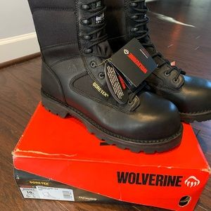 NWT Wolverine black leather boots Sz 10M